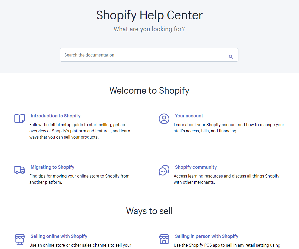 shopify support helpcenter