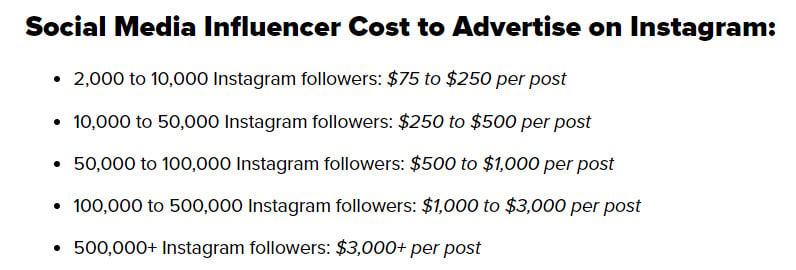 social media influencer cost