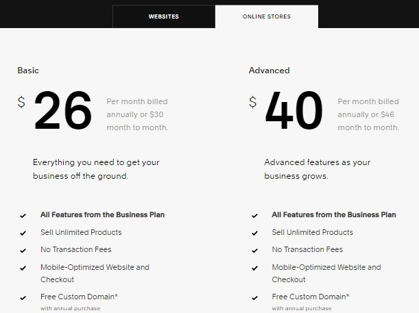 squarespace pricing online store