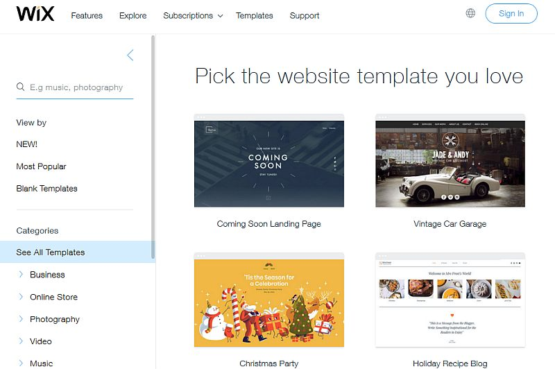 templates of wix