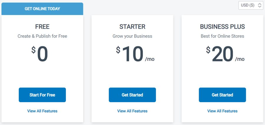 Website Prices