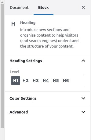 wordpress heading settings