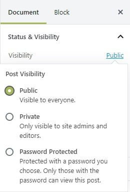 wordpress post visibility