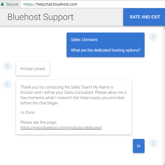 BlueHost-chat