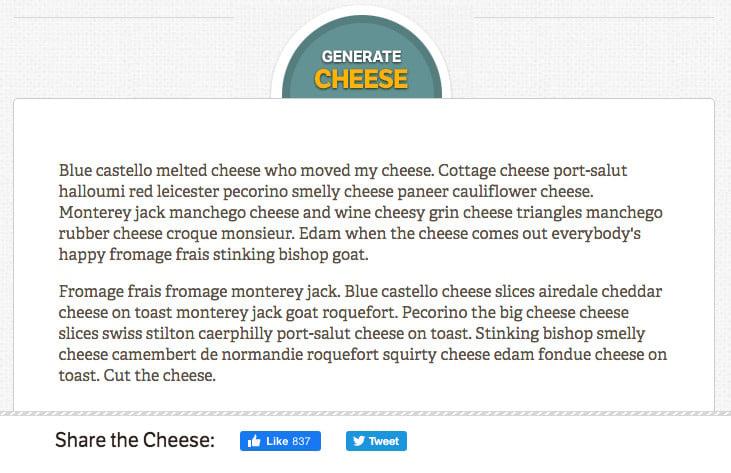 Cheese Ipsum tested
