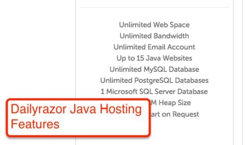 Dailyrazor Java Hosting Features