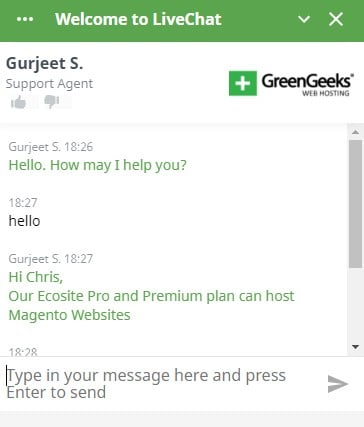 GreenGeeks Chat