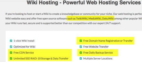 Greengeeks wiki hosting features