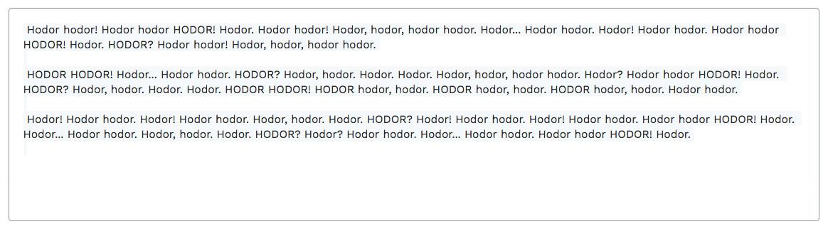 Hodor Ipsum or tested