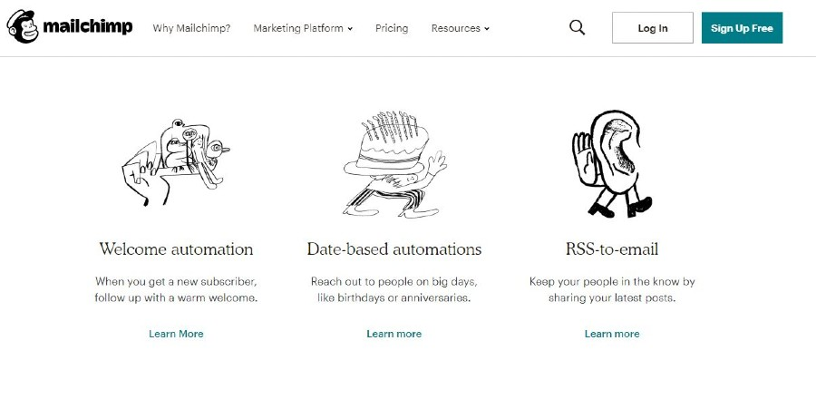 MailChimp tools to automate website