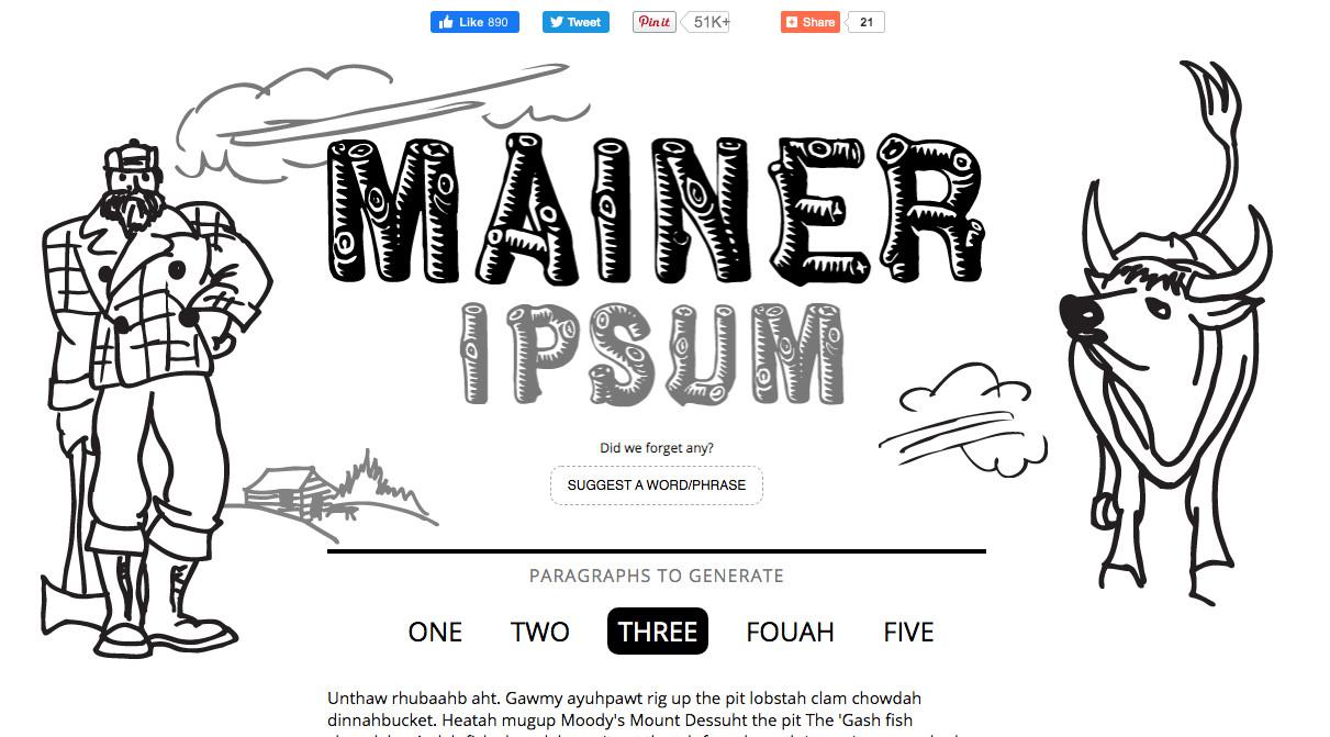 Mainer Ipsum tested