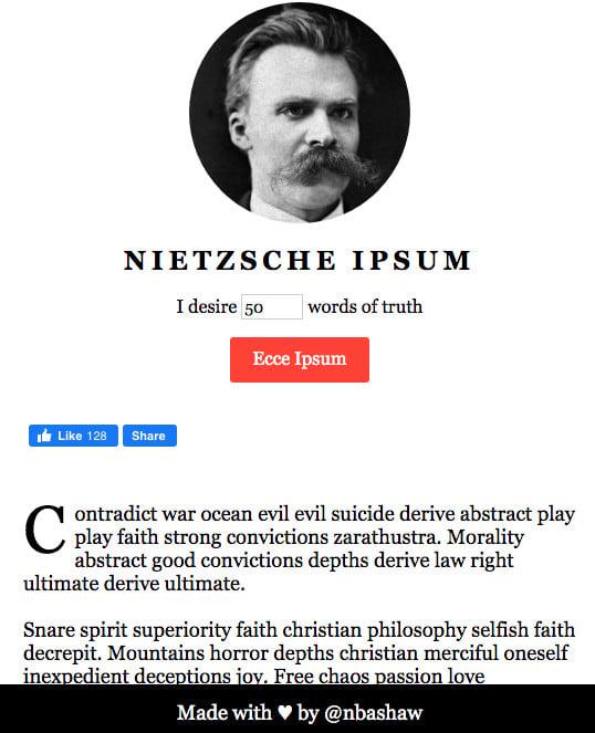 Nietzsche Ipsum or tested