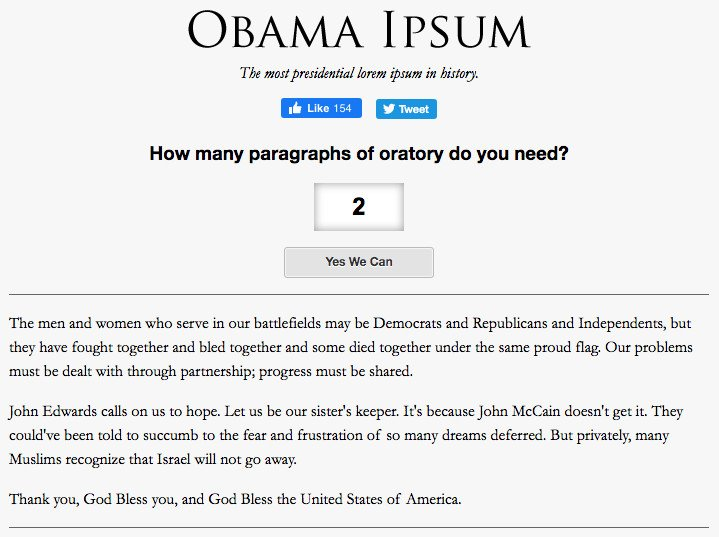 Obama Ipsum or tested
