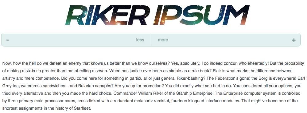 Riker Ipsum or tested