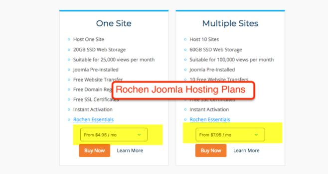 Rochen Joomla Hosting Plans