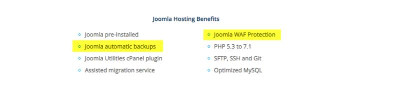 Rochen joomla hosting features