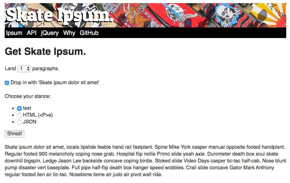 Skate Ipsum or tested