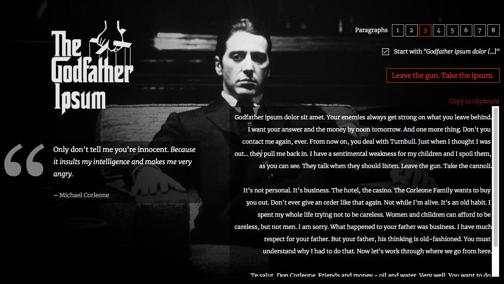 The Godfather Ipsum or tester