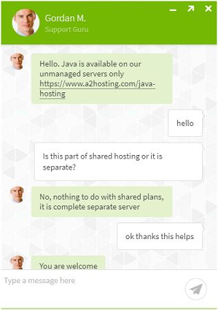 a2 chat for java hosting