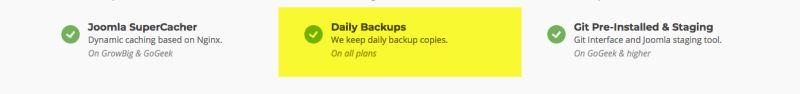 backup by siteground joomla hosting