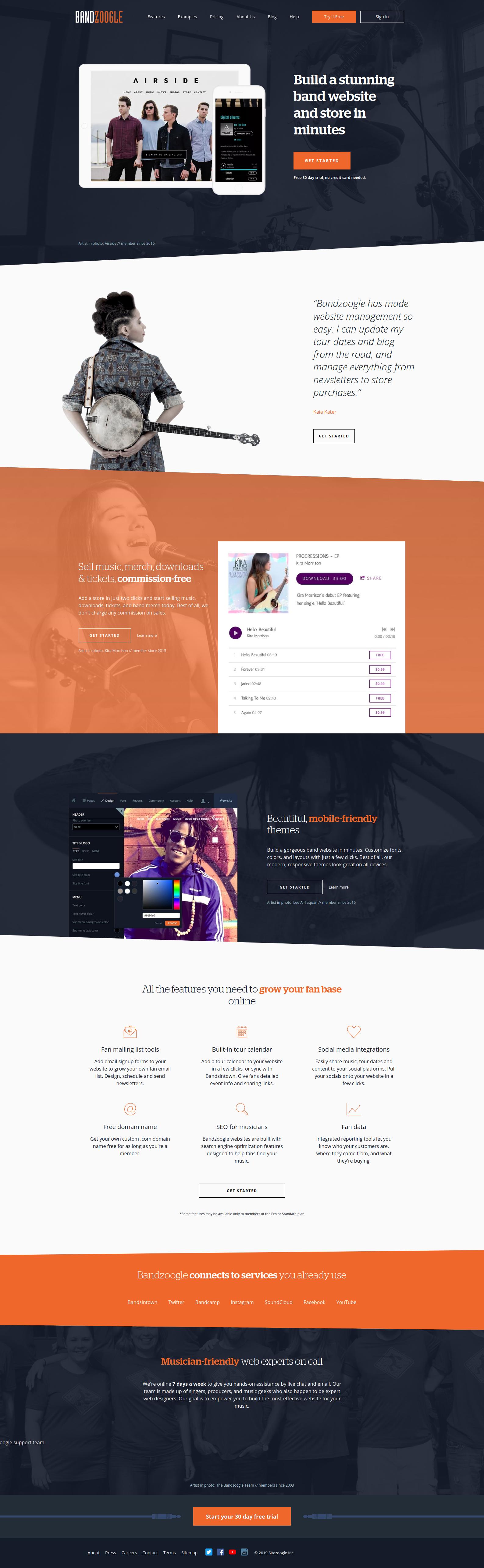 Bandzoogle Homepage