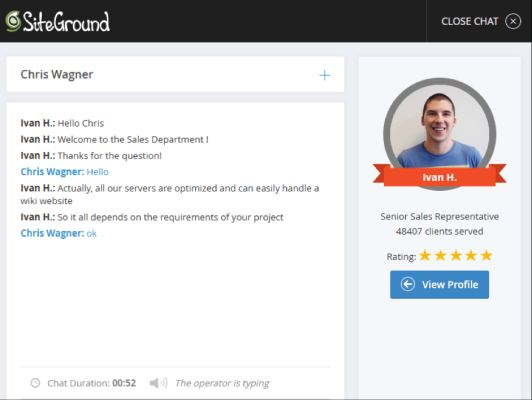 siteground chat 1 for wiki hosting
