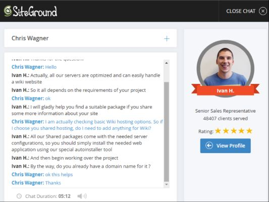 siteground chat 2 for wiki hosting