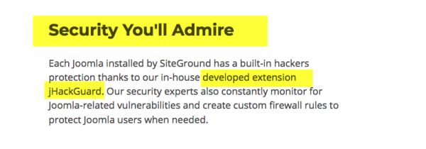 siteground security joomla hosting