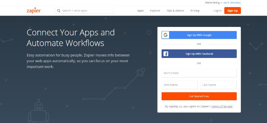 Zapier tools to automate website