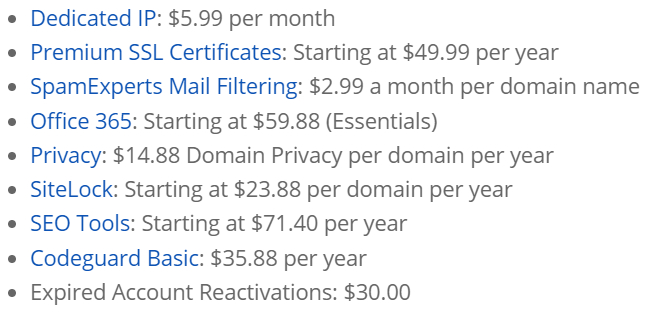 bluehost price-shared addons cost