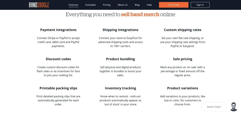 e-commerce ready bandzoogle