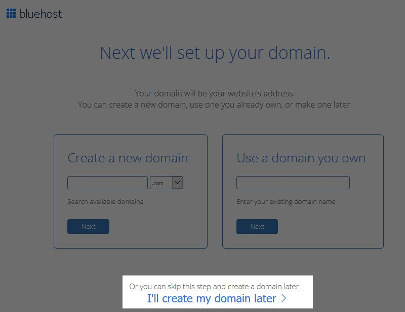 bluehost free domain