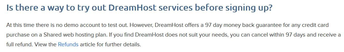 dreamhost money back guarantee