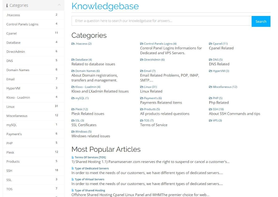 panamaserver knowledgebase