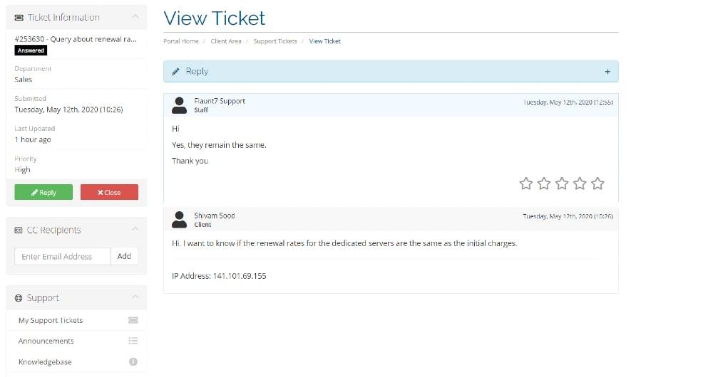 ticket response