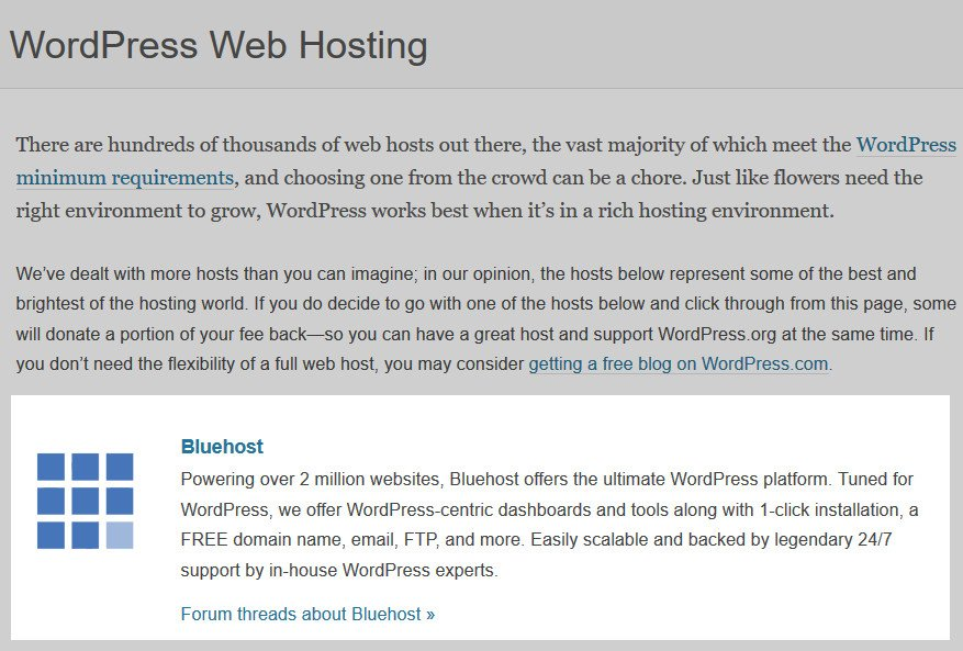 wordpress bluwhost reccommendation