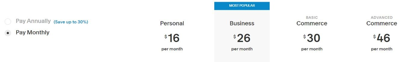Squarespace monthly price