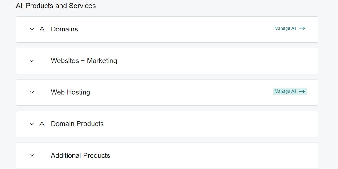 all products and servicecs in godaddy