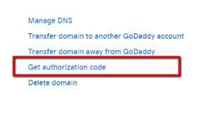 godaddy authorization code