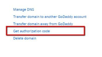 godaddy authorizatoin code