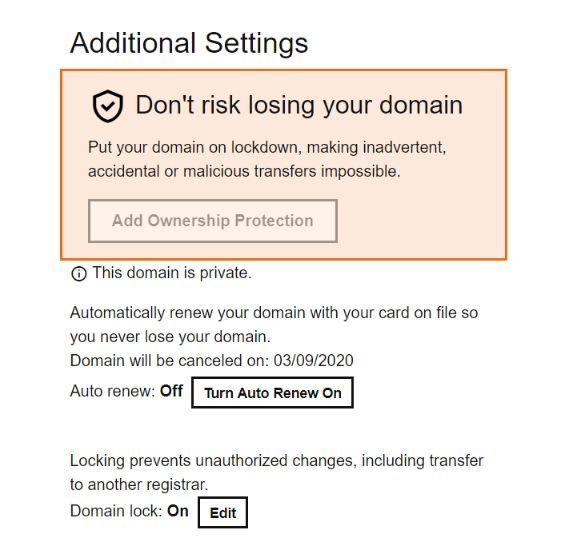 godaddy domain lock
