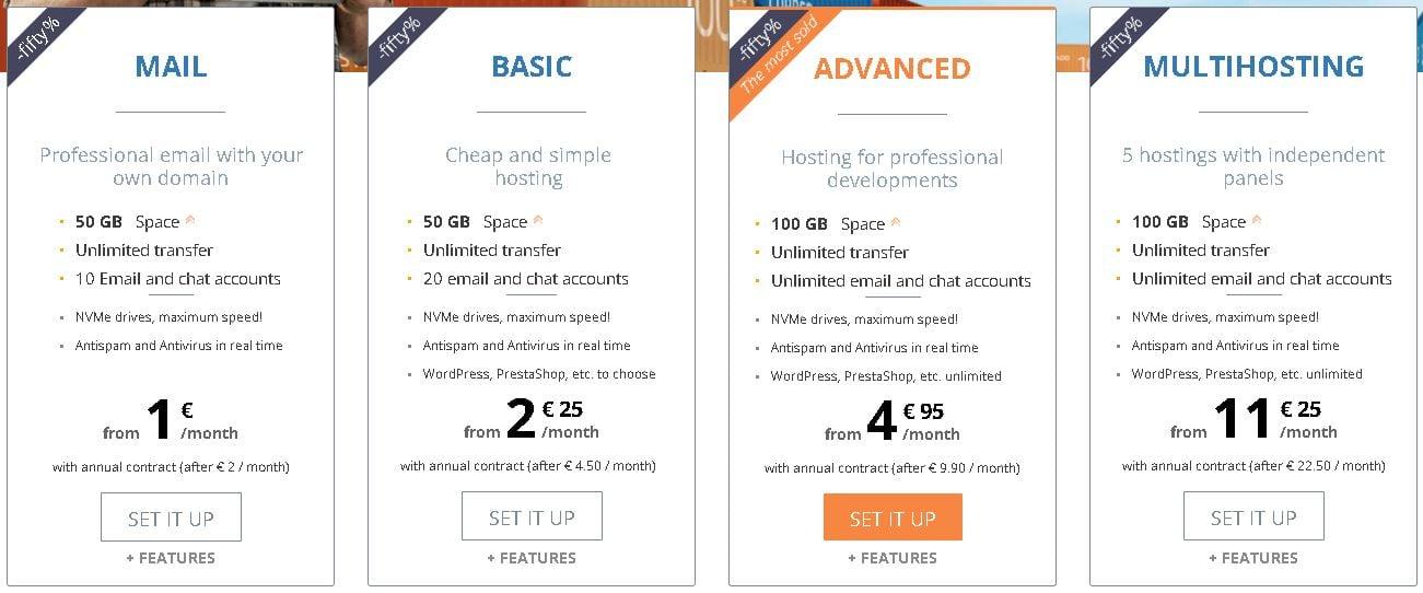 Dinahosting pricing