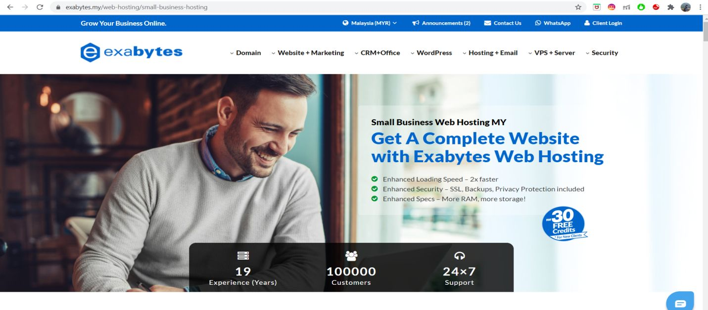 Exabytes Web Hosting homepage