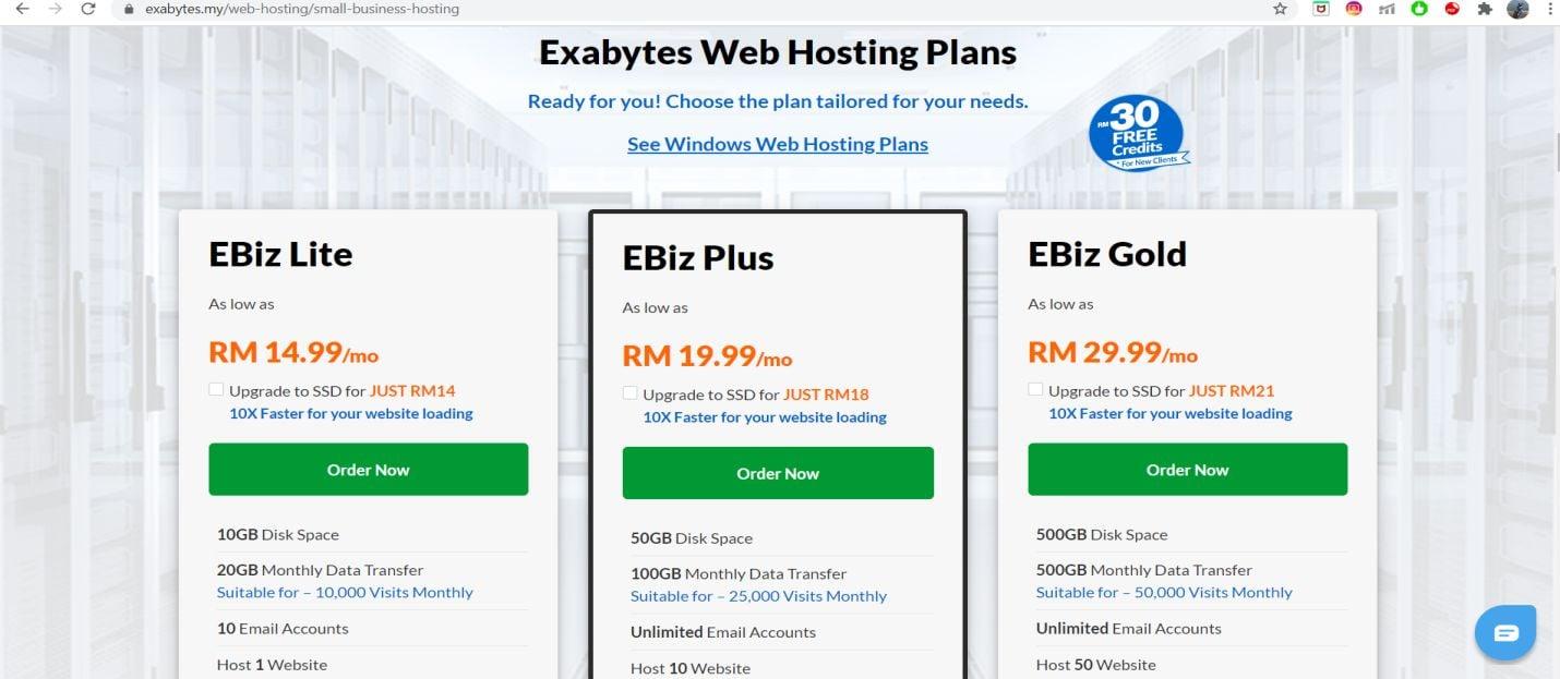 Exabytes Web Hosting pricing
