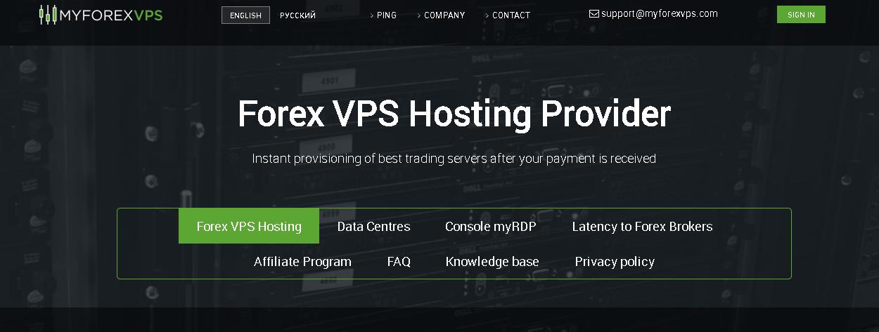 MyForexVPS homepage