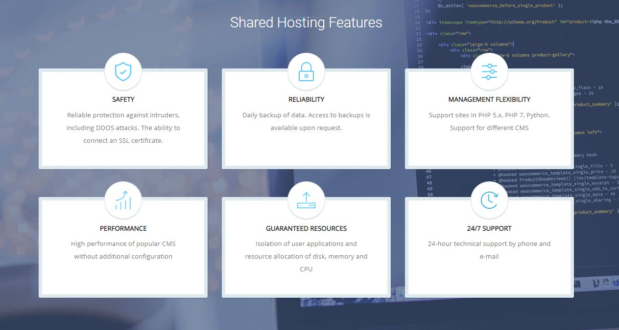 Supportby shared hosting features