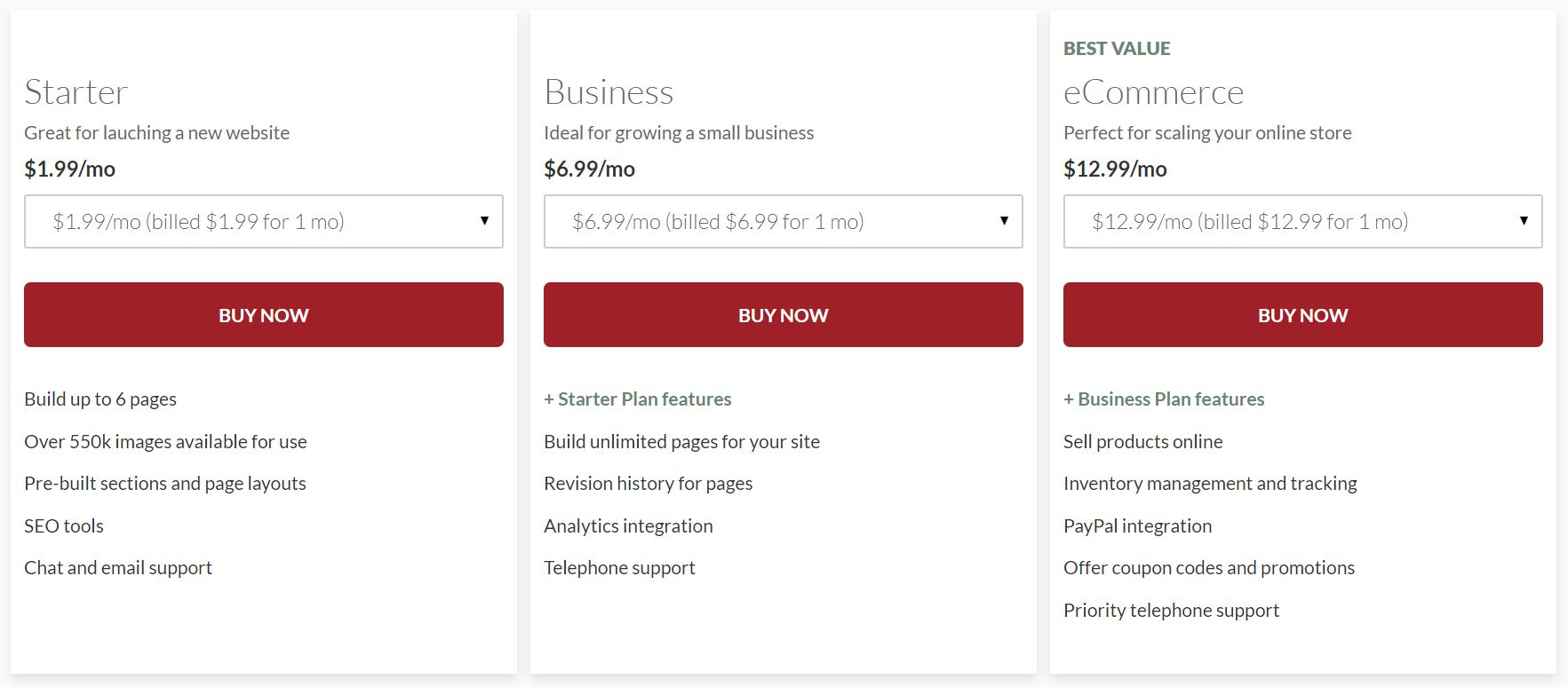 netfirms site builder features