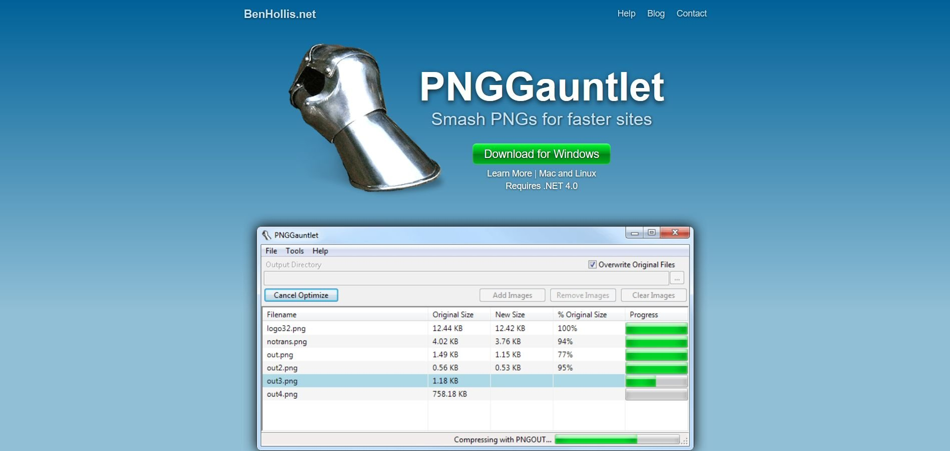 PNGGauntlet - PNG Compression Software