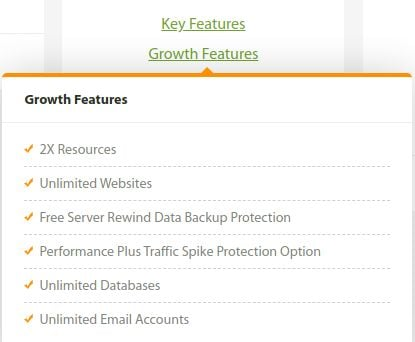 A2 Hosting growth features