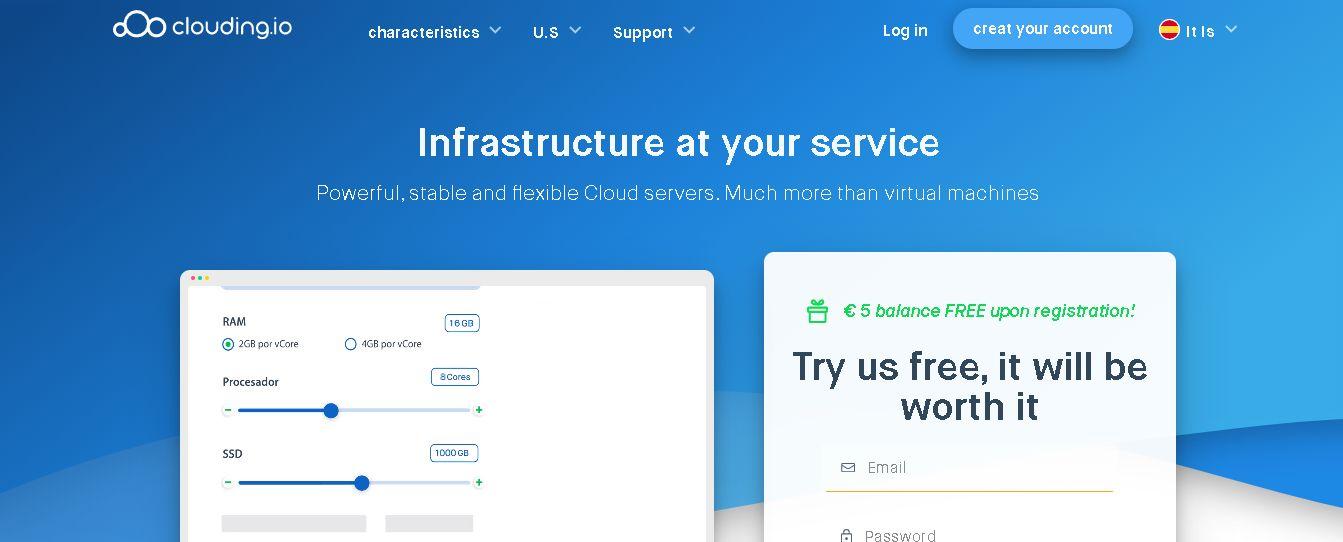 Clouding.io homepage